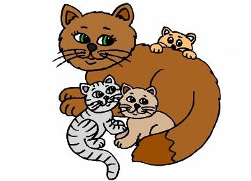 Ausmalbilder Katzenfamilie